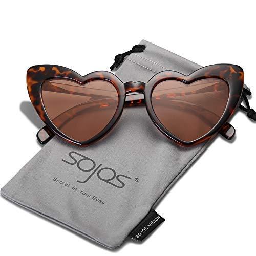 SOJOS Herz Sonnenbrille Clout Google Schick Design Herzform SJ2062 Demi Rahmen/Braun Linse