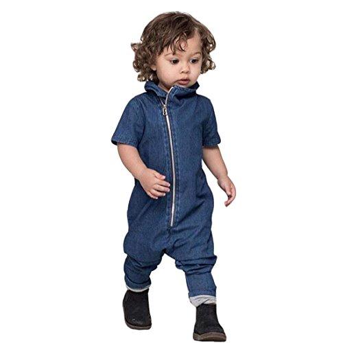Bekleidung Longra Säugling Baby Jungen Kleidung Denim Romper Strampler Jumpsuits Kurzarm Reißverschluss Overall Outfits(0 -24 Monate) (90CM 24Monate, blue)