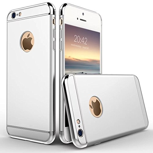 6S Plus Case, Feikai 3 in 1 Ultra Thin Slim Coated Premium Non Slip Matte Surface Electroplate Frame Plating Metal Texture Skin Hard Case Cover With Ring Holder Stand for iPhone 6 Plus / 6S Plus Gray 3in1 6S Plus Silver