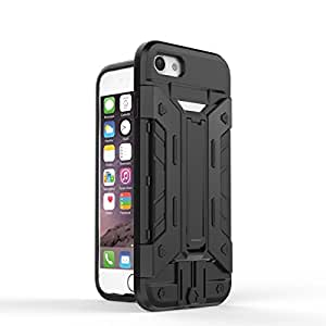 iPhone 7 Case, REENUO [Robo Warriors] Shock Absorbing Hybrid Kickstand Dual Layer Armor Defender Ultra Slim Cover Shell Hard Plastic & Soft Silicone (Black)