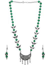 DUDI'S GERMAN SILVER OXIDIZED PENDANT SET IN MALA WITH PAIR OF EARRINGS(SILVER PLATED)