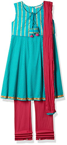 Karigari Girl's A-Line Regular Fit Cotton Salwar Suit Set (273734350 _Assorted_07Y)