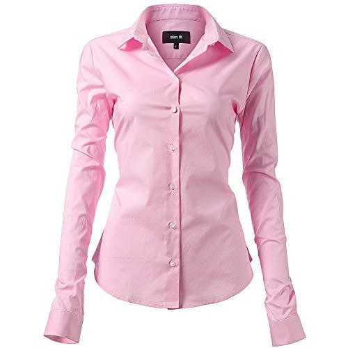INFLATION Camisa de Vestir Elástica Mujer, diseño clásico Trabajo/Reunion/Ceremonia/Boda/Fiesta/Ocasiones Formales/Casuales, Rosa, Cuello 42CM, Pecho 116CM