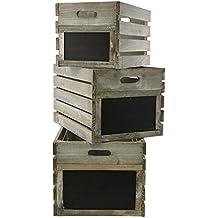 Verde Jem rústico de madera cajas, Plata de abeto, ...