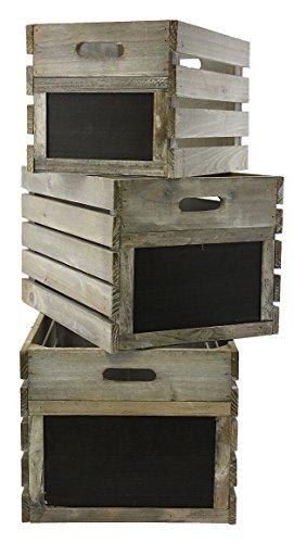 Green Jem Rustikal Holz Kisten, silber Fir, 46x 29x 24cm