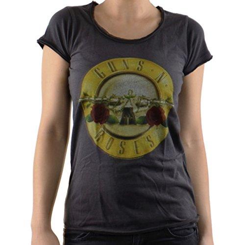 Camiseta de mujer de Guns N Roseslogo Drum Vintage Gris (S a L) de Amplified gris gris medium