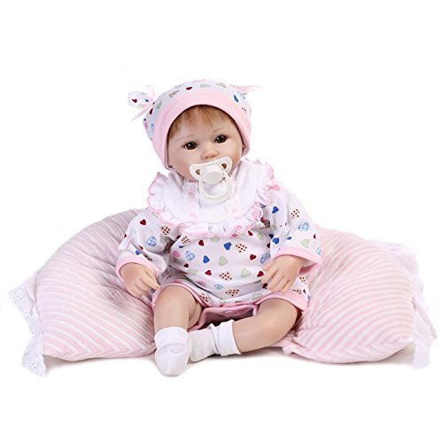 17″ Handmade Soft Silicone Vinyl Newborn Dolls True Looking Lifelike Reborn Baby Doll Free Magnet Pacifier Dummy