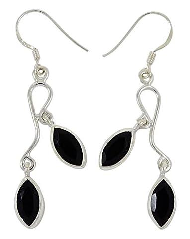Schwarzem Onyx Stein Baumeln Ohrring-Set 925 Sterling Silber Mode Tragen Schmuck Geschenk Für Sie