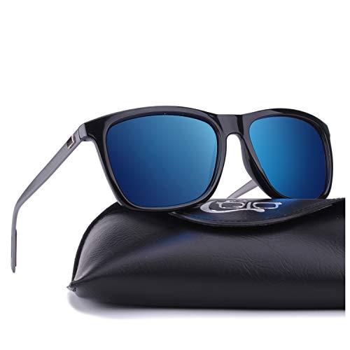 CGID Eckige Retro Sport Designer Klassische Sonnenbrille für Männer und Frauen Polarisierte Sonnenbrille Brille Al-Mg Metall Bügel Ultra Leicht 100% UV400 Schutz Blaue verspiegelte Linse MJ33