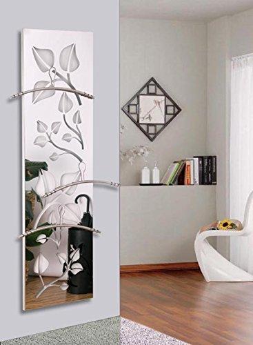 Wandgarderobe / Garderobe, Design Leaves, 140x40cm, Edelstahl 3 D poliert (Marke: Szagato, Made in Germany) (Kleiderständer, Garderobenständer, Wandpaneel, Wanddeko)