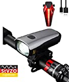 Gear Tech StVZO Zugelassen LED Fahrradlicht Set, Akku USB Wiederaufladbare Fahrradbeleuchtung, Fahrradlampe Set inkl, Frontlichter und Rücklicht, Sehr hell (60 Lux) 2600mAh Fahrradlichter