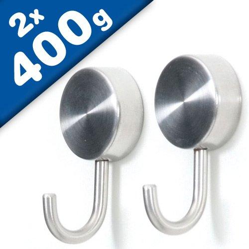 2 x Magnethaken Magnet mit Haken Stahl - 2er Set - Ø 2,5 cm - Tragkraft 400g - Hakenmagnet Super-Stark - Ideal für die Heizung, Kühlschrank, Pinnwand, Lochwand in der Werkstatt u.v.m