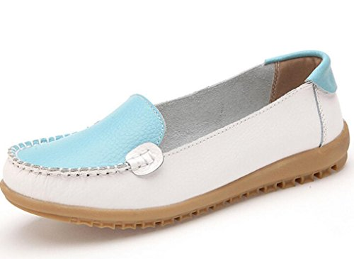 Transer® Damen Mokassins Frühling/Herbst Casual Schuh PU-Leder+Tendon Sandelholz Slipper (Bitte achten Sie auf die Größentabelle. Bitte eine Nummer größer bestellen. Vielen Dank!) Blau