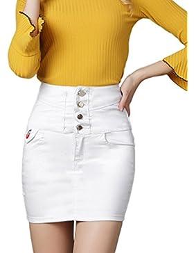 Sentao Mujer Elegante Verano Falda Vaquera Mini Falda De Mezclilla Slim Fit