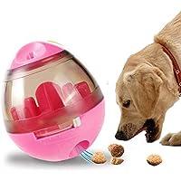 KayMayn Pet Treat Ball, Ball Feeder Bear Dog, Jouet interactif à culbuteurs pour Distribution des Aliments, Chiot Dressage pour Chiens et Chats (Rouge)