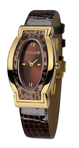 Roberto Cavalli Ladies Diana Analogue Watch R7251118555 with Quartz Movement, Leather Bracelet and Brown Dial