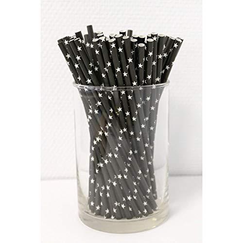 Papierstrohhalme Sterne 100 Stück schwarz/weiß, Party, Hochzeit, Cake-Pops-Stick, Geburtstag