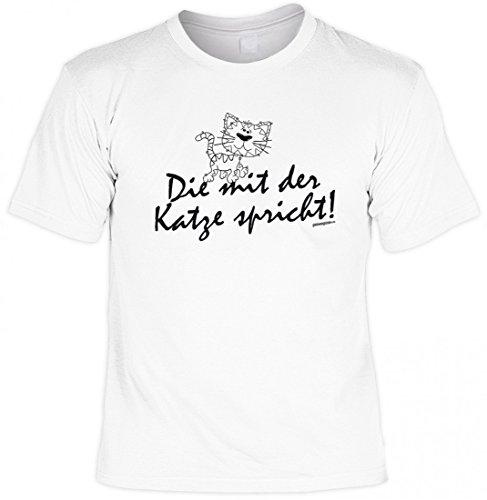 Scherzhaftes Tiere T-Shirt weiss - Die mit der Katze spricht - witzige Geschenk Idee Katzenbesitzer, Größe:5XL
