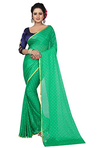 Perfectblue Women's cotton Silk Saree With Blouse Piece (NA6AZMINvARIATION) (Rama)