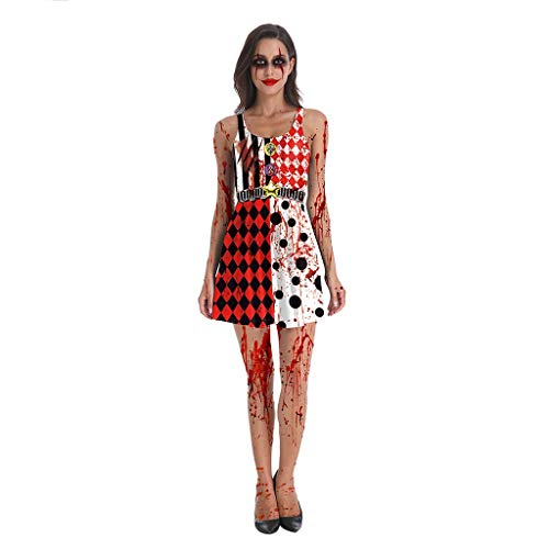 SYXYSM Halloween-Kostüm 3D-Druck Horror Blutigen Zombie Maid Maskerade Kostüm Weste Kleid (Color : Black+Red+White, Size : (Böse Hexe Des Westens Sexy Kostüm)