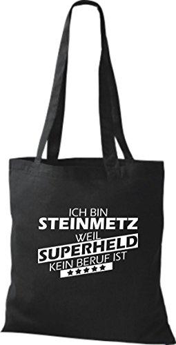 Shirtstown Stoffbeutel Ich bin Steinmetz, weil Superheld kein Beruf ist schwarz