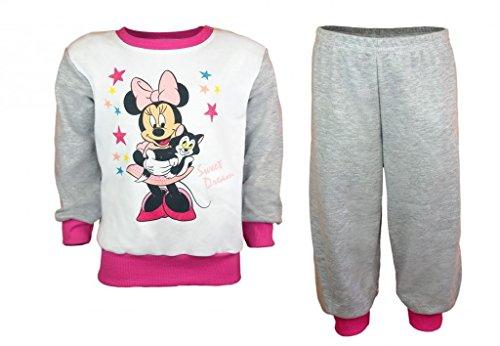 Mädchen BABY-PYJAMA 2-teilig von Minnie Mouse in GRÖSSE 74, 80, 86, 92, 98, weiß+grau+pink, Sweat-Shirt LANGARM mit Motiv-Applikation und langer Hose, Schlaf-Anzug zum Wohlfühlen Size 80