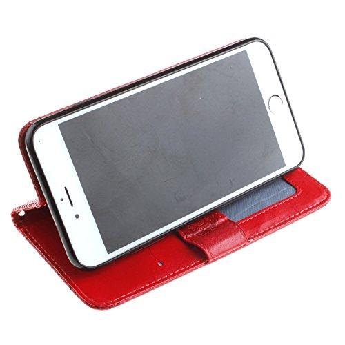 """MOONCASE iPhone 7 Plus Étui, Folk-Personnalisé Relief Motif PU Cuir Folio Housse Béquille à rabat Case Cover avec Fermeture Magnétique pour iPhone 7 Plus 5.5"""" Marron Rouge"""