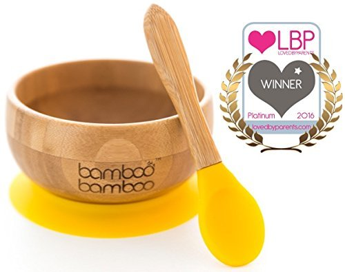 Baby Suction Bowl and Matching Spoon Set, Suction Stay Put Feeding Bowl, Natural Bamboo (Yellow) by bamboo bamboo