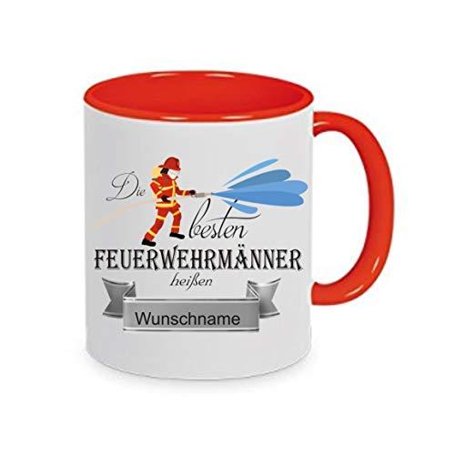 crealuxe  Tasse m. Wunschname Die Besten Feuerwehrmänner heißen. Wunschname - Kaffeetasse mit Motiv, Bedruckte Tasse mit Sprüchen Oder Bildern