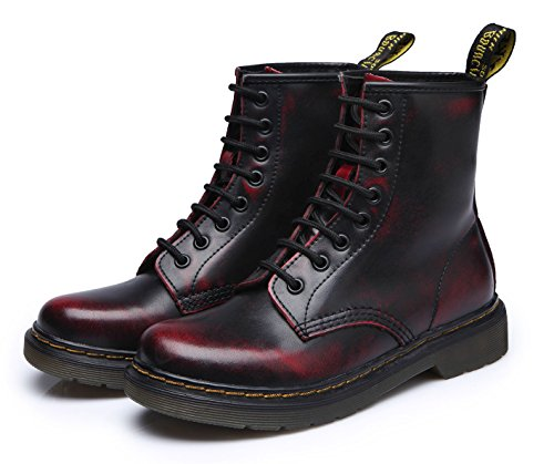 uBeauty - Bottes Femme - Martin Bottes - Boots Flattie Sport - Chaussures Classiques - Bottines À Lacets Noir Rouge