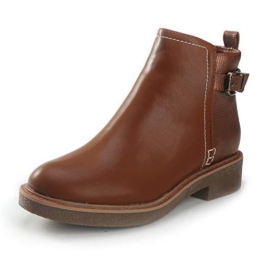 Alexis Leroy Damen Schuhe Kurze Stiefel für Damen Block Stacked Heels Stiefeletten Braun 5 UK/38 EU -
