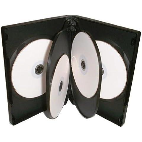 Four Square Media 1x CD DVD/BLU RAY 22mm negro DVD 6way para 6discos–PACK DE 1