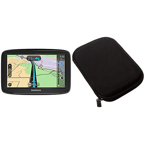 TomTom Start 52 Pkw-Navi (5 Zoll, mit Lebenslang EU-Karten, resistivem Display) & AmazonBasics Hartschalenetui für 5-Zoll-Navigationsgeräte, schwarz