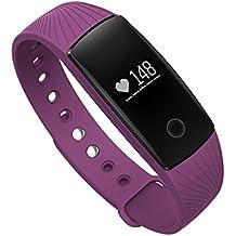 MAXAH 107 Pulsera Deportiva Inteligente Smartwatch Reloj Pulsera de Actividad (Llamada/Mensaje, Podómetro, Despertador, Cardíaco, Sueño, Captura Remota, Notificación Sedentaria, para IOS y Andriod) (Púrpura)