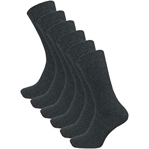 6 Paar warme Herren Winter Thermo Socken mit Wolle - Vollplüsch (39-42, grau)