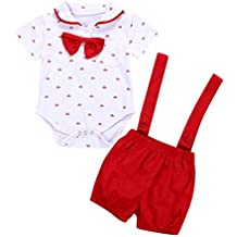 Sannysis 2 Piezas Bebé Niños Pequeños Manga Corta Ropa de Mameluco + Pantalones de Niño Conjunto