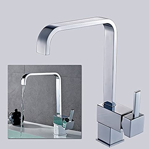 360-Grad-Schwenker-Hoch Arc Wasserfall Küche Badezimmer-Mischer-Hahn-Wannen-Hahn-Edelstahl Einhebel-Waschtisch-Behälter-Wannen-Hahn, Chrom-Finish Deck (Land Badezimmer-hahn-)