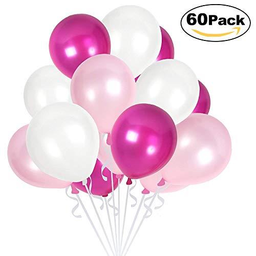 Dealkits 60 Stück Luftballons Rosa Weiß, Perle Latex 30cm 3,2g Heliumballons für Helium Geeignet für Hochzeit und Party Dekorationen Spielzeug - 4 Farben