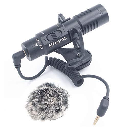 Nicama Microfono Cardioide Shotgun Universale per iPhone iPad Android Smartphone Mac tablet , Fotocamera DSLR Videocamera Canon Nikon Sony Registratori audio