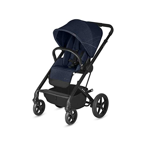 CYBEX Gold Balios S Pushchair, From Birth to 17 kg (approx. 4 years), Denim Blue Cybex Stylish, high-quality pushchair with reversible, comfortable seat and 5-point harness - Suitable for use from birth to 17 kg (approx. 4 years) with Cot S attachment - Including raincover for optimum use in all weather conditions High mobility: All-terrain wheels with soft-wheel suspension, Swivelling and lockable front wheels, Easy one-hand folding to compact size (41 x 60 x 75 cm), Travel system compatibility with CYBEX and gb baby car seats and Cot S pushchair attachment Carefree everyday life: One-hand recline adjustment of seat, Spacious shopping basket, Adjustable footrest, High seat height, XXL sun canopy, 4-point adjustable push handle with max. height of 110 cm 1