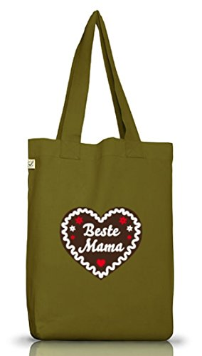 Shirtstreet24, Muttertag - Lebkuchenherz Beste Mama, Jutebeutel Stoff Tasche Earth Positive Leaf Green