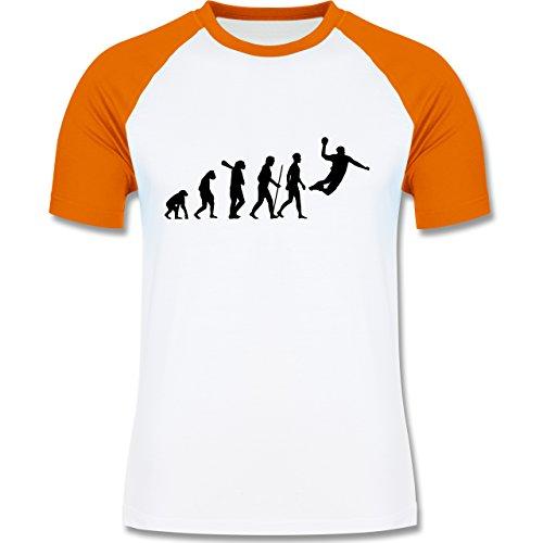 Evolution - Handball Evolution - zweifarbiges Baseballshirt für Männer Weiß/Orange