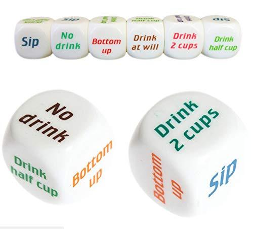 HARMILIY Drinking Würfelspiele Glücksspiel Erwachsene Getränk Entscheider Würfel Weiß 3 Teile (Würfel-spiel Trinken)
