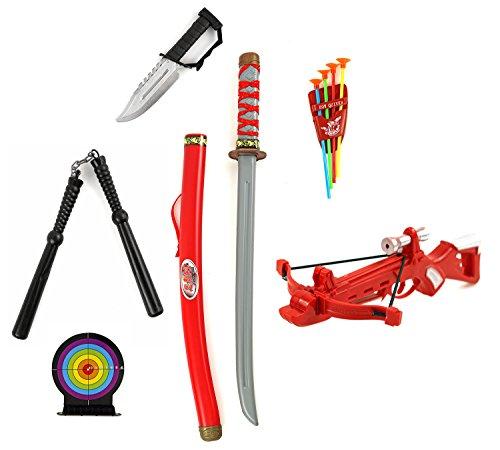 Schwerter Ninja Turtle (Riesen Kinder XXL Set Samurai Katana Schwert Sebel Kinder Spielzeug Karneval Fasching)