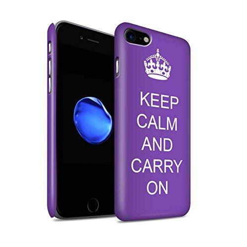STUFF4 Matte Snap-On Hülle / Case für Apple iPhone 8 / Einkaufen Gehen/Braun Muster / Bleib Ruhig Kollektion Mach Weiter/Lila