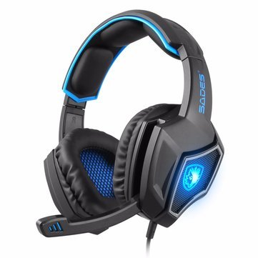 Generic SADES 7.1 Channel Surround USB Wired LED Gaming Headphone Headset with Mic for PC Gamers-black blue