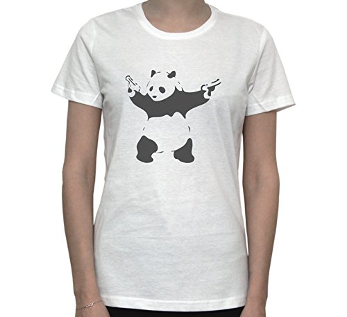 PANDA WITH GUNS Funny Graphic Women's T-Shirt Blanc