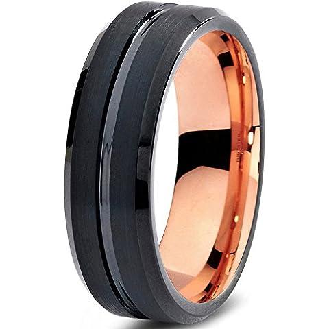 Tungsten Wedding Band Ring 6mm for Men Women Black & 18K Rose Gold Beveled Edge Brushed Polished Lifetime