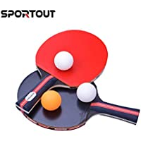Easy-Room Table Tennis Racket Bat Set, Pingpong Paddle with 2 Bats and 3 Balls(Customized by Sportout)