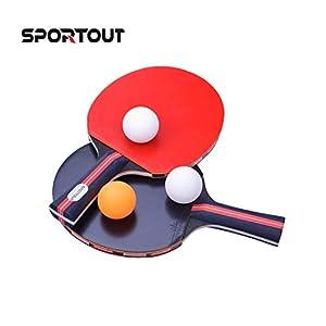 Easy-Room Tischtennisschläger, Tischtennis Set, 2 Tischtennis-Schläger und 3 Tischtennis-Bälle(Logo von Sportout)